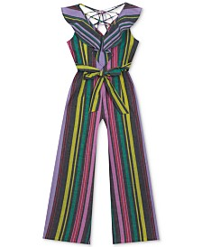 Rare Editions Big Girls Striped Cotton Jumpsuit