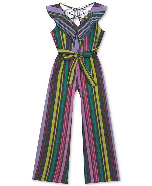 Rare Editions Big Girls Striped Cotton Jumpsuit