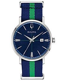 Men's Aerojet Blue & Green Polyester Strap Watch 39mm