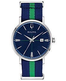 Bulova Men's Aerojet Blue & Green Polyester Strap Watch 39mm