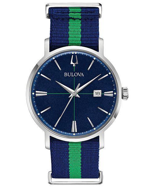 Bulova Men's Aerojet Blue & Green Polyester Strap Watch 39mm