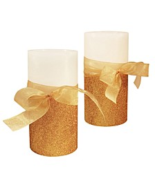 LumaBase Set of 2 Gold Bow Battery Operated LED Wax Candles