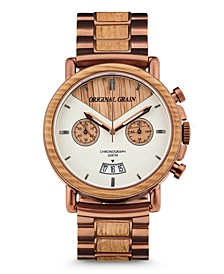 Mens Chronograph Reclaimed Whiskey Barrel Wood in Espresso Stainless Steel 44mm Watch