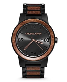 Mens African Sapele Wood Paired With Black Stainless Steel 47mm Watch
