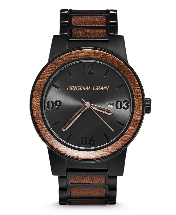 Original Grain Mens African Sapele Wood Paired With Black Stainless Steel 47mm Watch