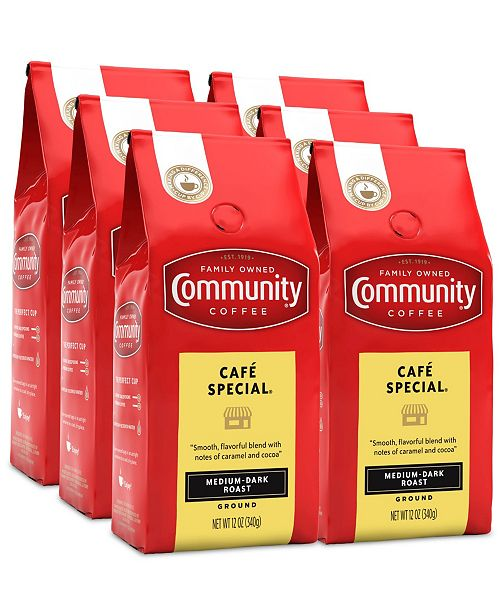 Community Coffee Cafe Special Medium-Dark Roast Premium Ground Coffee, 12 Oz - 6 Pack