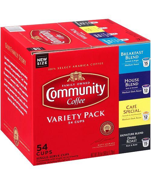 Community Coffee Variety Pack, Medium to Dark Roast Single Serve Pods, Keurig K-Cup Brewer Compatible, 54 Ct