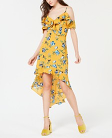 BCX Juniors' Printed Ruffle High-Low Dress