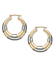 Signature Gold™ Diamond Accent Graduated Hoop Earrings in 14k Gold and White Gold over Resin