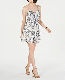 Printed Tie-Front Shift Dress