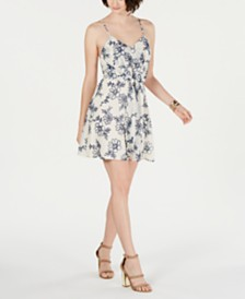 19 Cooper Printed Tie-Front Shift Dress