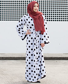 Verona Collection Polka-Dot Printed Maxi Dress