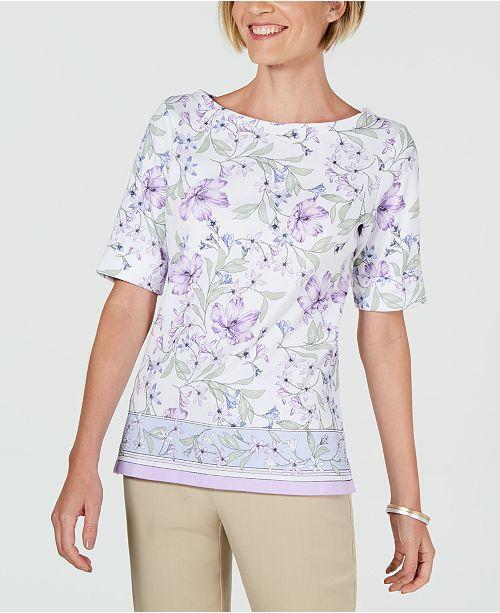 Karen Scott Petite Hibiscus Border-Print Boat-Neck Top, Created for Macy's