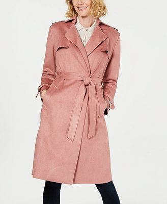 Faux Suede Belted Trench Coat by T Tahari