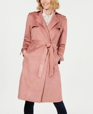 T Tahari Coats FAUX-SUEDE BELTED TRENCH COAT