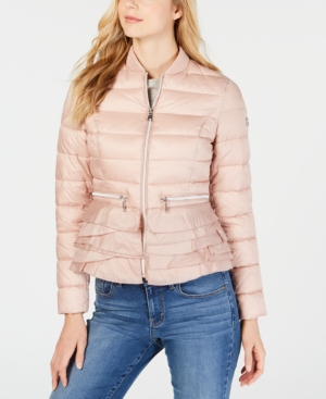 T Tahari Coats EMILY RUFFLED-HEM PACKABLE PUFFER COAT
