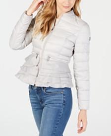 T Tahari Emily Ruffled-Hem Packable Puffer Coat