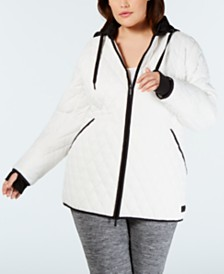 Calvin Klein Performance Plus Size Quilted Hooded Jacket