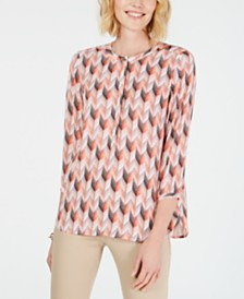 JM Collection Petite Printed Pleated Back Top, Created for Macy's