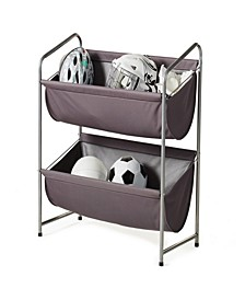 Multipurpose 2-Tier Deep Fabric Bin Utility Shelf