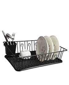 "17.5"" Black Dish Rack with 14 Plate Positioners and Detachable Utensil Holder"