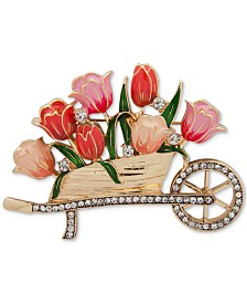 Anne Klein Gold-Tone Pavé & Colored Enamel Flower Cart Pin, Created for Macy's