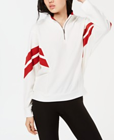 Hippie Rose Juniors' Colorblock Striped Half-Zip Sweatshirt