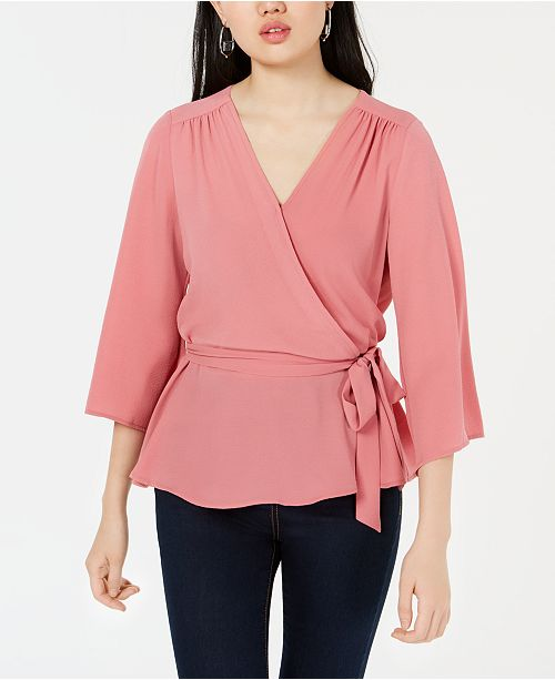 BCX Juniors' Surplice Wrap Top