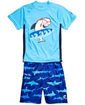 a65e17ef036a Laguna Little Boys 2-Pc. Shark Top   Swim Trunks Set