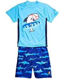 Laguna Little Boys 2-Pc. Shark Top & Swim Trunks Set