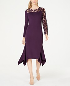I.N.C. Lace-Inset Sweater Dress, Created for Macy's