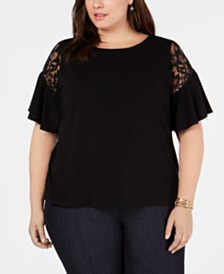 I.N.C. Plus Size Short-Sleeve Lace-Detail Top, Created for Macy's