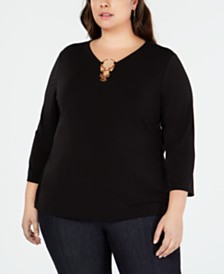 I.N.C. Plus Size O-Ring Knit Top, Created for Macy's