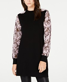 I.N.C. Printed Sheer-Sleeve Tunic, Created for Macy's