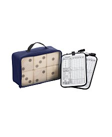 Triumph Big Roller 6 Large Wooden Lawn Dice Set for Outdoor Use with Included Dry-Erase Scorecards, Markers, and Carry Bag
