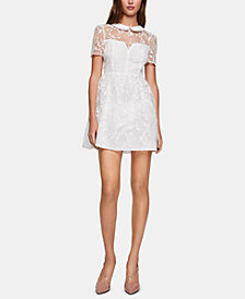 BCBGeneration Embroidered Illusion Fit & Flare Dress