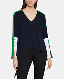 BCBGMAXAZRIA Colorblocked Split-Sleeve Top