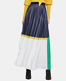 BCBGMAXAZRIA Pleated Colorblocked Skirt