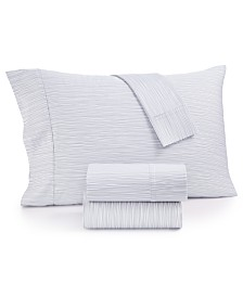 CLOSEOUT! AQ Textiles Modernist Printed Wavy Stripe 4-Pc. King Sheet Set, 750-Thread Count Cotton Blend, Created for Macy's