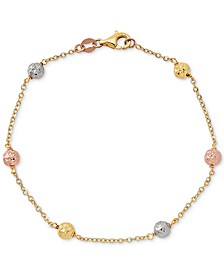 Tricolor Textured Ball Link Bracelet in 14k Gold, White Gold, & Rose Gold