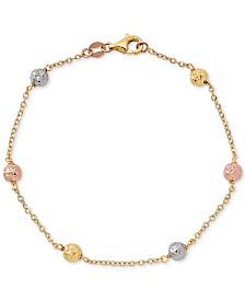 Tricolor Textured Ball Link Bracelet in 14k Gold, White Gold, & Rose Gold