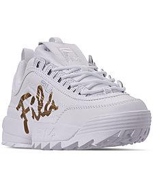 Fila Women's Disruptor II Premium Script Casual Athletic Sneakers from Finish Line