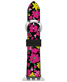 Women's Black Floral Silicone Apple Watch® Strap