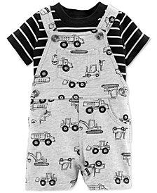 Carter's Baby Boys 2-Pc. Cotton Striped T-Shirt & Truck-Print Shortalls Set