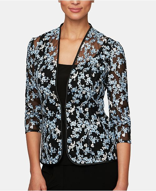 Alex Evenings Floral Embroidered Jacket & Top