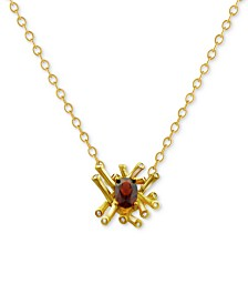 Kesi Jewels Garnet (3/4 ct. t.w) & Diamond and White Topaz Accent Pendant Necklace in 18k Gold-Plated Sterling Silver, 16""