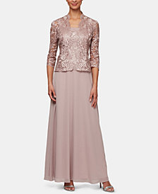 Alex Evenings Petite Embroidered Jacket & Gown