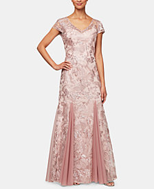Alex Evenings Petite Embroidered Gown