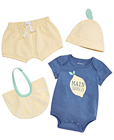 First Impressions Baby Boys or Girls Lemon Graphic Bodysuit, Shorts, Bib & Cap Separates, Created for Macy's