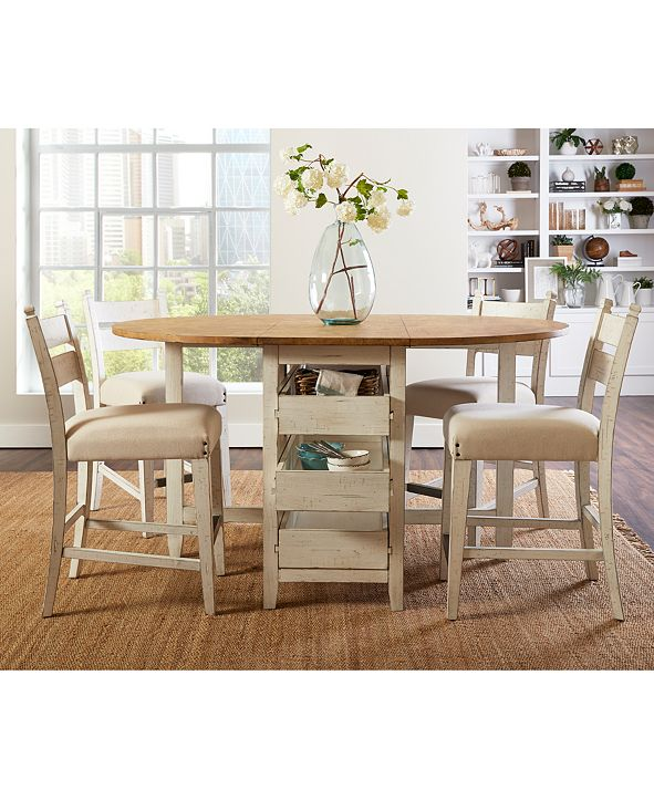 Furniture Neighbors Drop Leaf Dining Furniture, 5-Pc. Set (Dining Table & 4 Counter Stools)